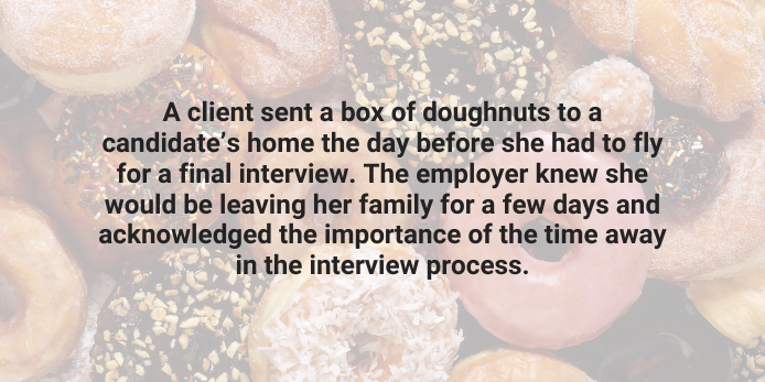 A client sent a box of doughnuts to a candidate's home
